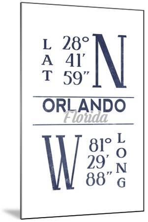 Orlando, Florida - Latitude and Longitude (Blue)-Lantern Press-Mounted Art Print