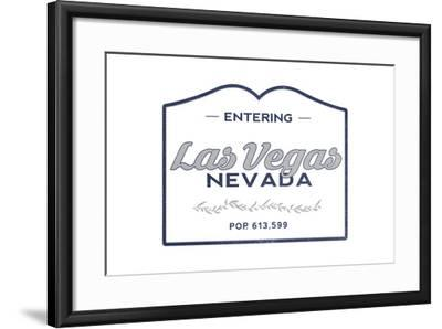 Las Vegas, Nevada - Now Entering (Blue)-Lantern Press-Framed Art Print