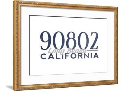 Long Beach, California - 90802 Zip Code (Blue)-Lantern Press-Framed Art Print