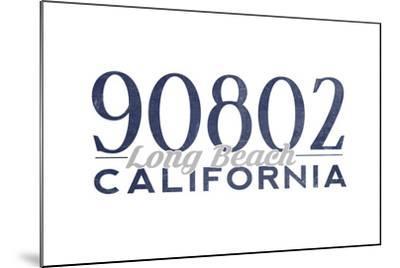 Long Beach, California - 90802 Zip Code (Blue)-Lantern Press-Mounted Art Print