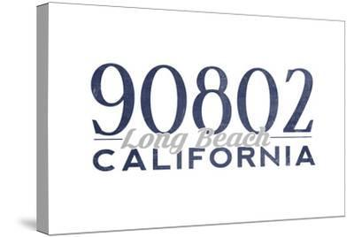 Long Beach, California - 90802 Zip Code (Blue)-Lantern Press-Stretched Canvas Print