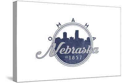 Omaha, Nebraska - Skyline Seal (Blue)-Lantern Press-Stretched Canvas Print