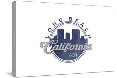 Long Beach, California - Skyline Seal (Blue)-Lantern Press-Stretched Canvas Print