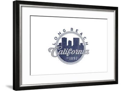 Long Beach, California - Skyline Seal (Blue)-Lantern Press-Framed Art Print