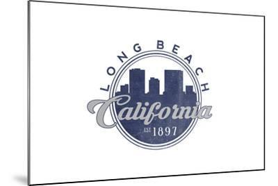 Long Beach, California - Skyline Seal (Blue)-Lantern Press-Mounted Art Print