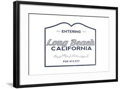 Long Beach, California - Now Entering (Blue)-Lantern Press-Framed Art Print