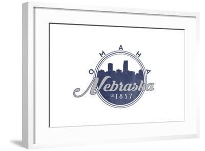 Omaha, Nebraska - Skyline Seal (Blue)-Lantern Press-Framed Art Print
