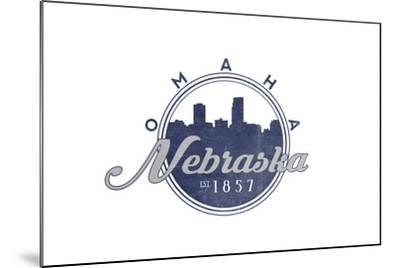 Omaha, Nebraska - Skyline Seal (Blue)-Lantern Press-Mounted Art Print
