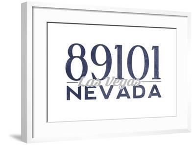 Las Vegas, Nevada - 89101 Zip Code (Blue)-Lantern Press-Framed Art Print