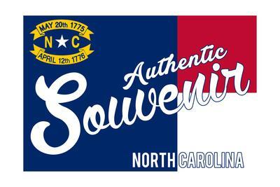 Visited North Carolina - Authentic Souvenir-Lantern Press-Framed Art Print