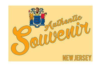 Visited New Jersey - Authentic Souvenir-Lantern Press-Framed Art Print