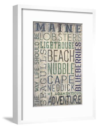 Nubble - Maine - Barnwood Typography-Lantern Press-Framed Art Print