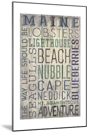 Nubble - Maine - Barnwood Typography-Lantern Press-Mounted Art Print