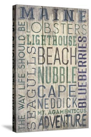 Nubble - Maine - Barnwood Typography-Lantern Press-Stretched Canvas Print