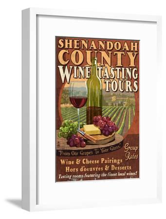 Shenandoah, Virginia - Wine Tasting Vintage Sign-Lantern Press-Framed Art Print