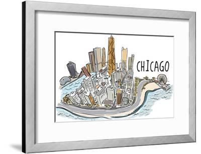 Chicago, Illinois - Cityscape - Line Drawing-Lantern Press-Framed Art Print
