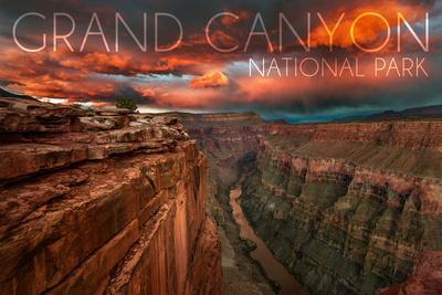 Grand Canyon National Park, Arizona - Red Sky-Lantern Press-Framed Art Print