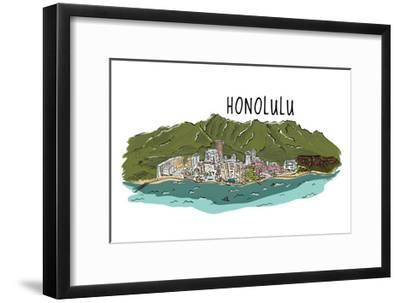 Honolulu, Hawaii - Cityscape - Line Drawing-Lantern Press-Framed Art Print