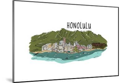 Honolulu, Hawaii - Cityscape - Line Drawing-Lantern Press-Mounted Art Print