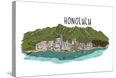 Honolulu, Hawaii - Cityscape - Line Drawing-Lantern Press-Stretched Canvas Print