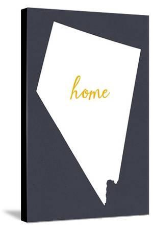 Nevada - Home State - White on Gray-Lantern Press-Stretched Canvas Print