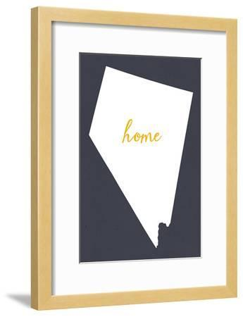 Nevada - Home State - White on Gray-Lantern Press-Framed Art Print