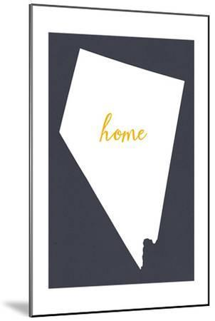 Nevada - Home State - White on Gray-Lantern Press-Mounted Art Print