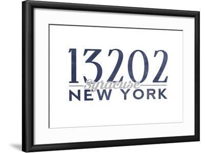 Syracuse, New York - 13202 Zip Code (Blue)-Lantern Press-Framed Art Print