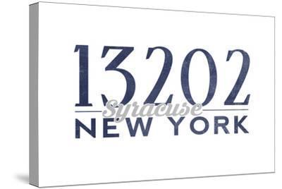 Syracuse, New York - 13202 Zip Code (Blue)-Lantern Press-Stretched Canvas Print