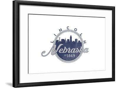 Lincoln, Nebraska - Skyline Seal (Blue)-Lantern Press-Framed Art Print