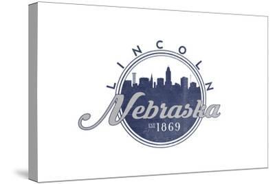Lincoln, Nebraska - Skyline Seal (Blue)-Lantern Press-Stretched Canvas Print