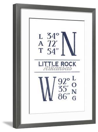 Little Rock, Arkansas - Latitude and Longitude (Blue)-Lantern Press-Framed Art Print