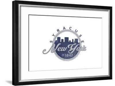 Syracuse, New York - Skyline Seal (Blue)-Lantern Press-Framed Art Print