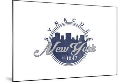 Syracuse, New York - Skyline Seal (Blue)-Lantern Press-Mounted Art Print