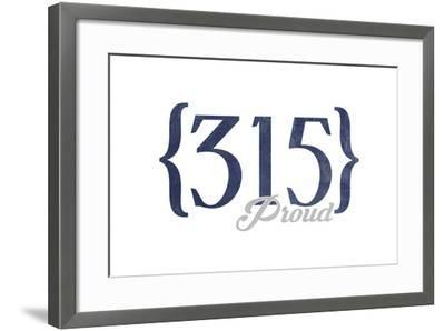Syracuse, New York - 315 Area Code (Blue)-Lantern Press-Framed Art Print