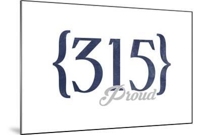 Syracuse, New York - 315 Area Code (Blue)-Lantern Press-Mounted Art Print