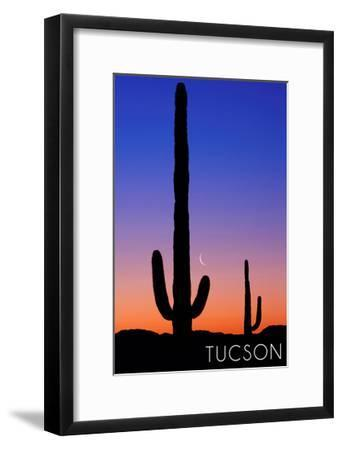 Tucson, Arizona - Cactus and Moon-Lantern Press-Framed Art Print