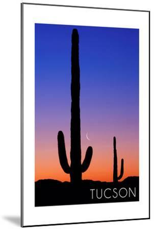 Tucson, Arizona - Cactus and Moon-Lantern Press-Mounted Art Print