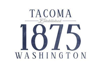 Tacoma, Washington - Established Date (Blue)-Lantern Press-Framed Art Print