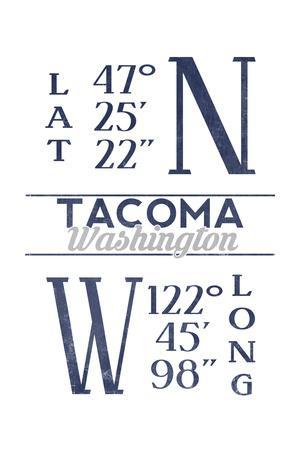 Tacoma, Washington - Latitude and Longitude (Blue)-Lantern Press-Framed Art Print