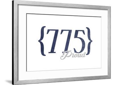 Las Vegas, Nevada - 775 Area Code (Blue)-Lantern Press-Framed Art Print