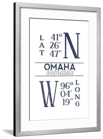 Omaha, Nebraska - Latitude and Longitude (Blue)-Lantern Press-Framed Art Print