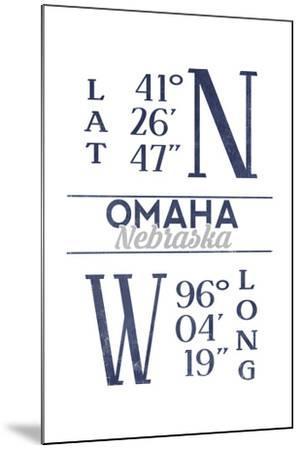 Omaha, Nebraska - Latitude and Longitude (Blue)-Lantern Press-Mounted Art Print