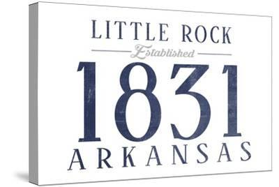 Little Rock, Arkansas - Established Date (Blue)-Lantern Press-Stretched Canvas Print