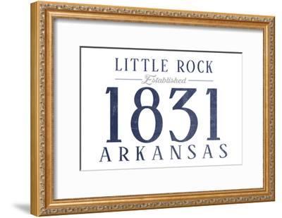 Little Rock, Arkansas - Established Date (Blue)-Lantern Press-Framed Art Print