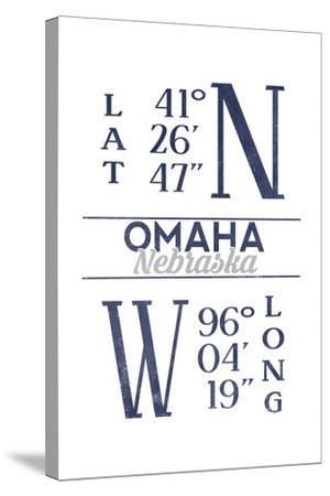 Omaha, Nebraska - Latitude and Longitude (Blue)-Lantern Press-Stretched Canvas Print