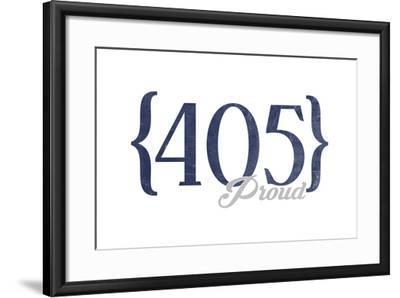 Oklahoma City, Oklahoma - 405 Area Code (Blue)-Lantern Press-Framed Art Print
