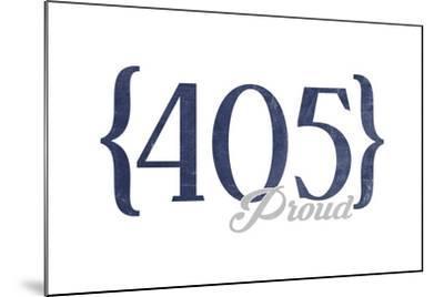 Oklahoma City, Oklahoma - 405 Area Code (Blue)-Lantern Press-Mounted Art Print
