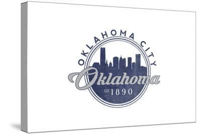 Oklahoma City, Oklahoma - Skyline Seal (Blue)-Lantern Press-Stretched Canvas Print