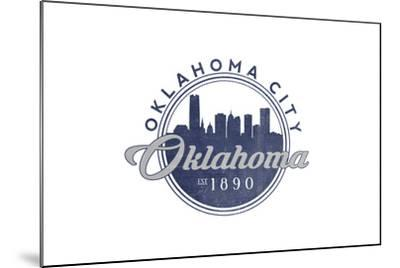 Oklahoma City, Oklahoma - Skyline Seal (Blue)-Lantern Press-Mounted Art Print